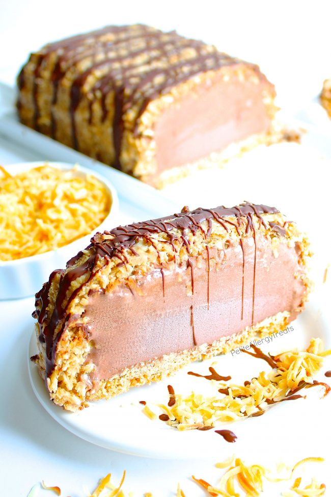 Gluten Free Dairy Free Samoa Ice Cream Cake Recipe (Vegan)- Crunchy toasted coconut, sweet caramel with cookie crumb bottom make this dairy free chocolate ice cream cake irresistible. Food Allergy friendly.