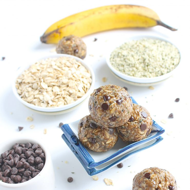 Gluten Free Nut Free Protein Energy Balls (dairy free vegan) Recipe- No bake healthy snack banana oat balls packed with protein, fiber and sweetened with banana.