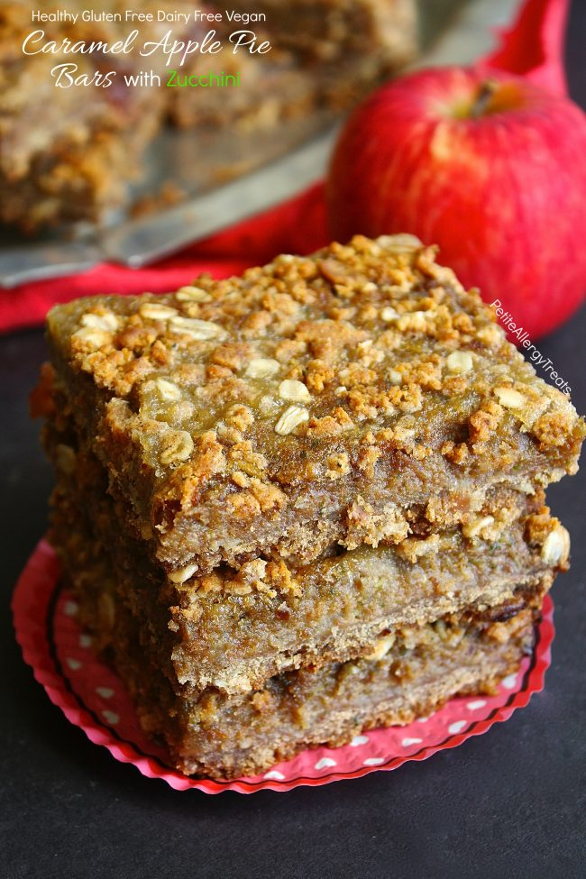 Gluten Free Caramel Apple Pie Bars Recipe (vegan dairy free)- Apple pie meets zucchini for a healthy pie bar! Food allergy friendly!
