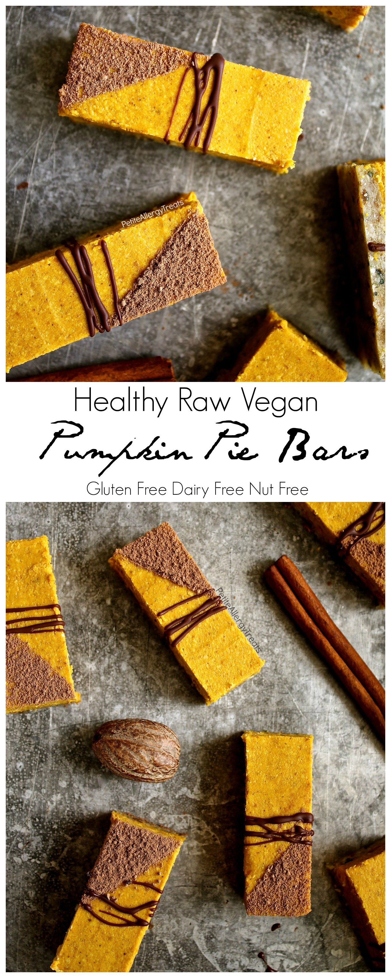 Healthy Raw Gluten Free Pumpkin Pie Bars Recipe (Vegan dairy free nut free)- No bake raw bars filled with real pumpkin, coconut butter, dates and hemp seeds. Refined sugar free. Food Allergy Friendly