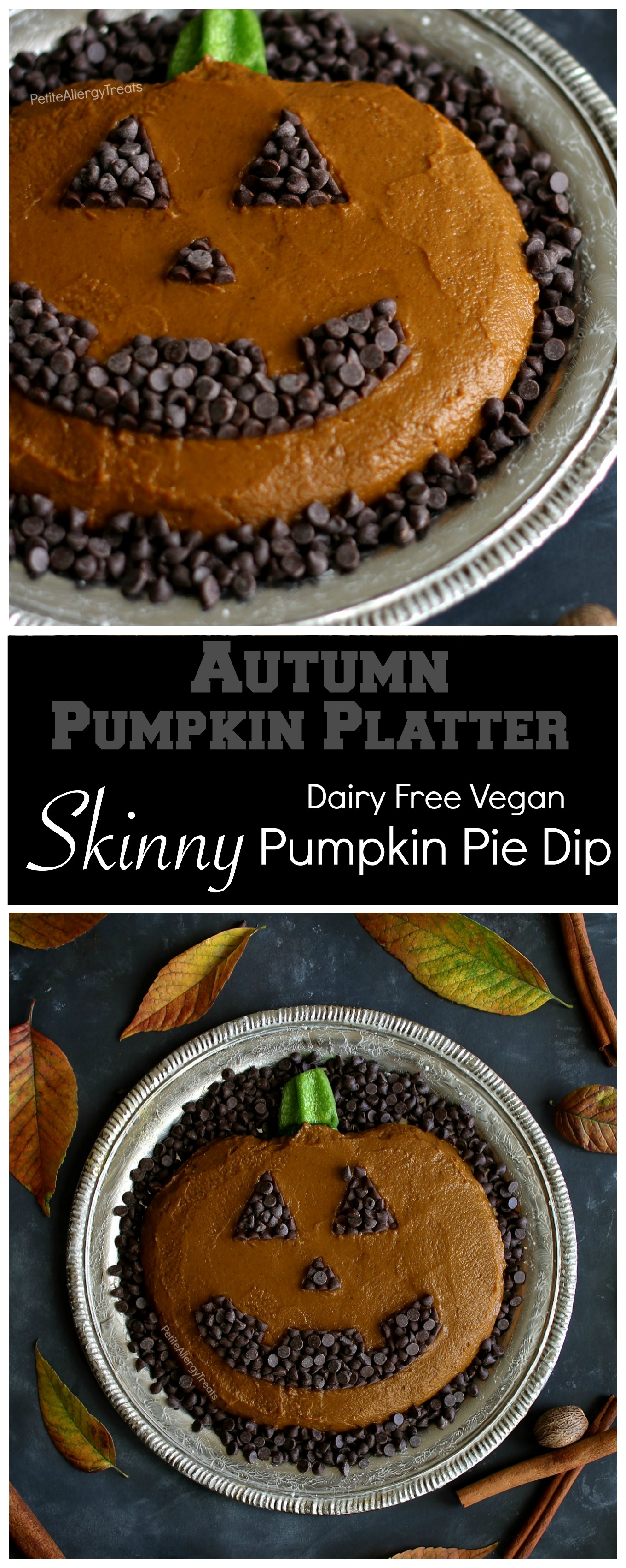 Dairy Free Skinny Pumpkin Pie Dip Recipe (vegan)- Adorable pumpkin platter for Fall, Halloween or Autumn parties! Food Allergy friendly!