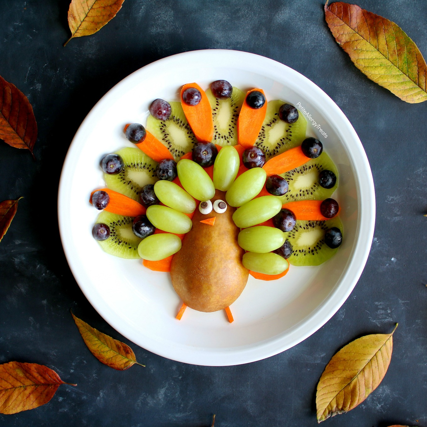 Fruit Platter Turkey (gluten free ) Recipe- Adorable easy party turkey fruit platter! Simple center piece for Thanksgiving!