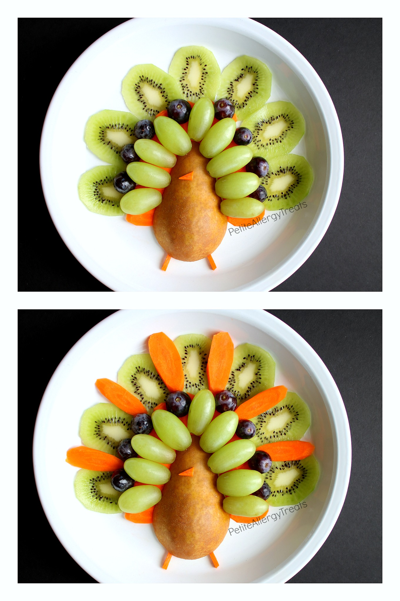 Easy Turkey Fruit Platter (gluten free ) Recipe- Adorable easy party turkey fruit platter! Simple center piece for Thanksgiving!