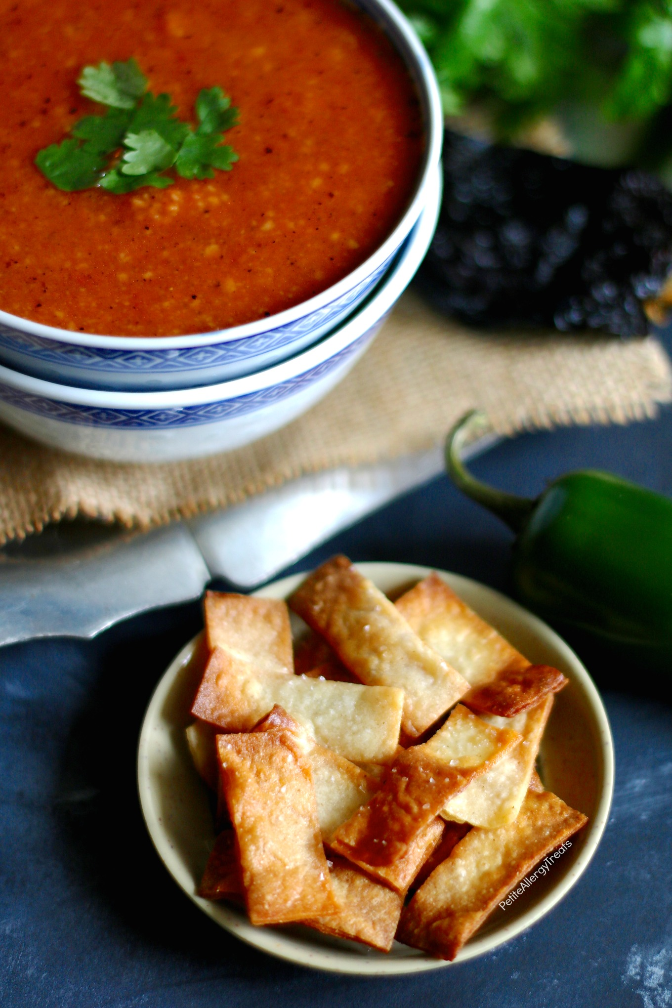 Easy Tortilla Soup recipe (vegan)- Gluten Free flavorful soup with 8 ingredients. Food Allergy friendly dinner is ready!