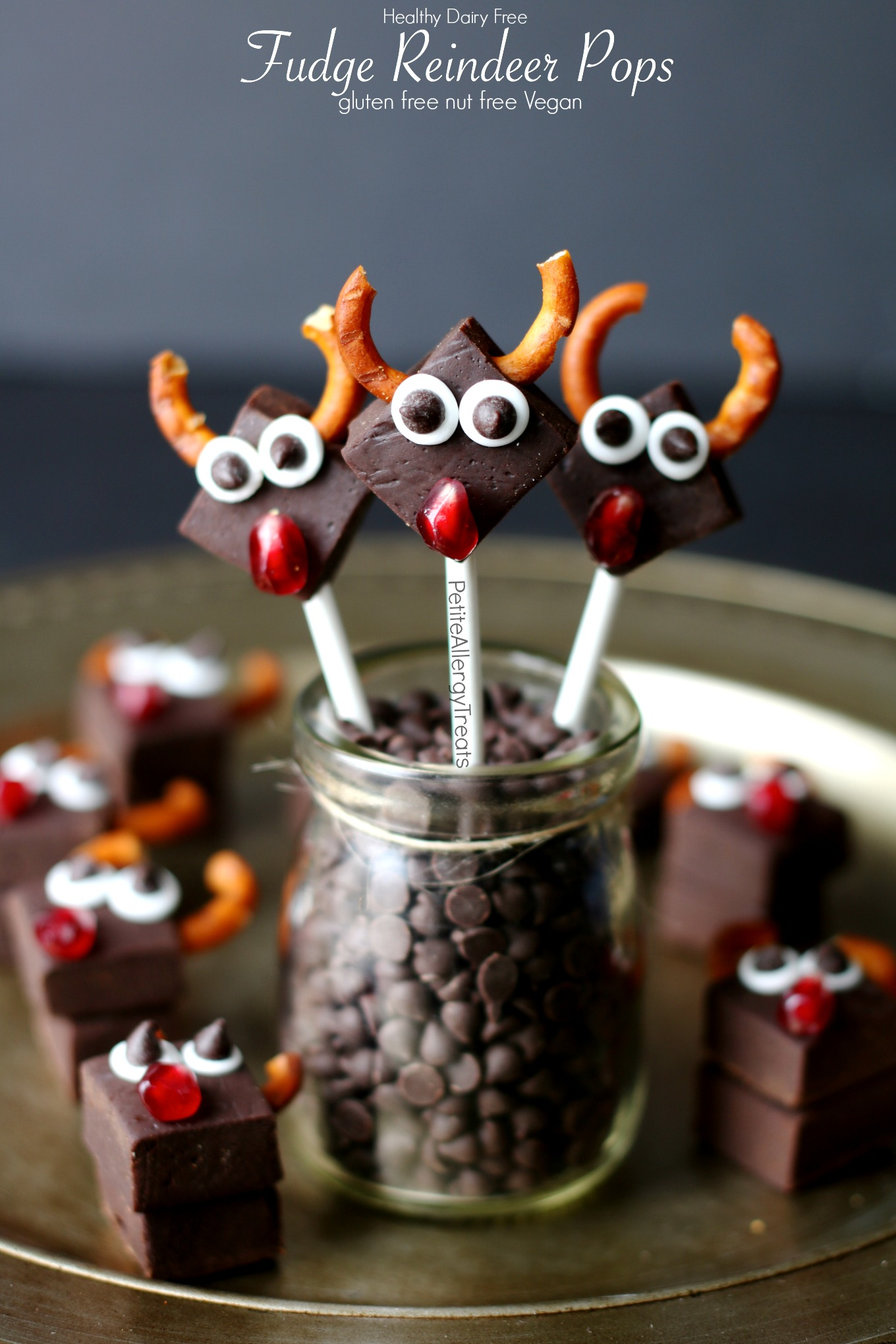 Healthy Dairy Free Fudge Reindeer Pops Recipe (vegan gluten free)- No Bake Adorable reindeer pops for Christmas! Dye free gluten free and food allergy friendly