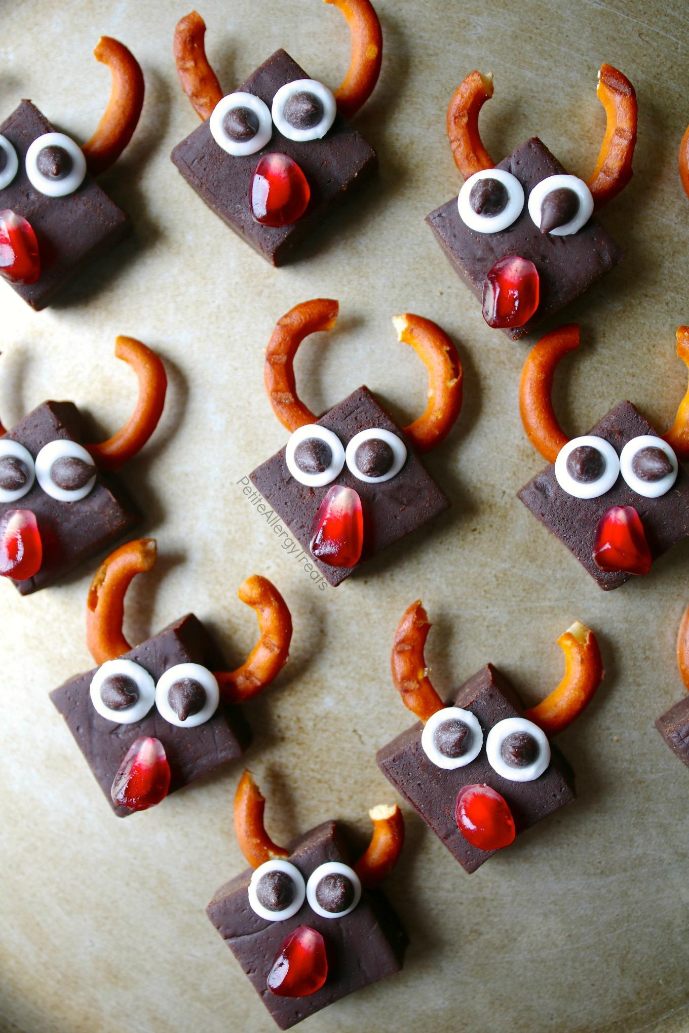 No Bake Dairy Free Fudge Reindeer Recipe (vegan gluten free)- Healthy chocolate fudge (with vegetables) for Christmas! Dye free gluten free and food allergy friendly