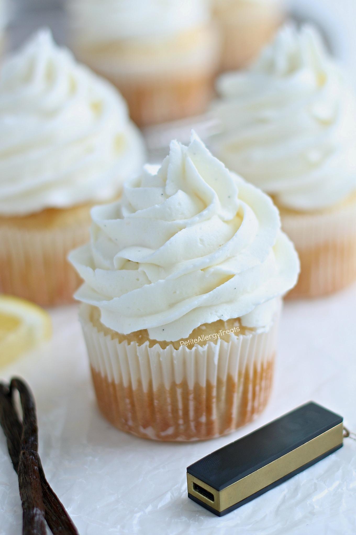Dairy Free Gluten Free Vanilla Cupcakes Recipe (vegan egg free)- Bakery style real vanilla bean cupcakes. Food Allergy friendly. Top 8 Free Allergy Amulet.