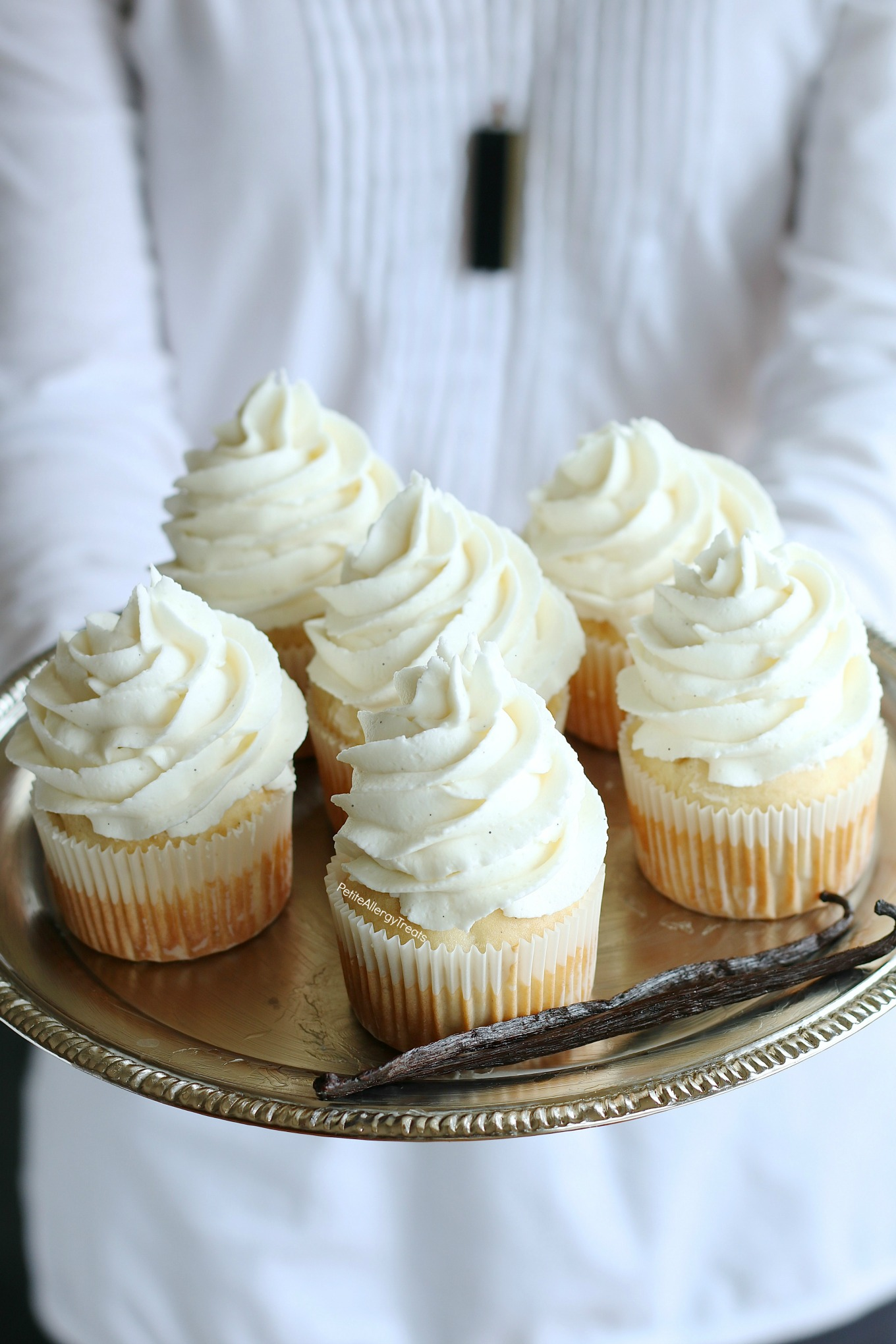 Gluten Free Vegan Vanilla Cupcakes Recipe (dairy free egg free)- Bakery style real vanilla bean cupcakes. Food Allergy friendly. Top 8 Free & Allergy Amulet.