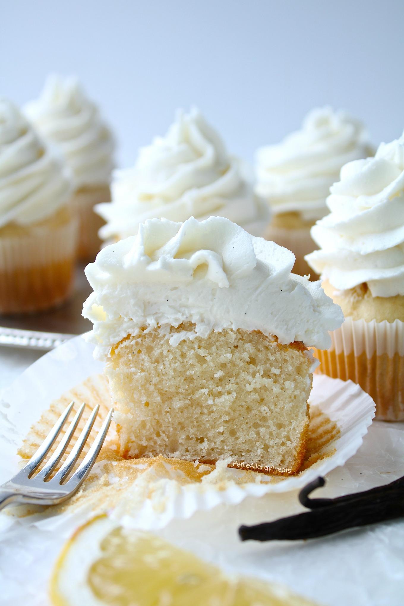 Vegan Vanilla Cupcakes Recipe (gluten free dairy free egg free)- Bakery style real vanilla bean cupcakes. Food Allergy friendly. Top 8 Free & Allergy Amulet.