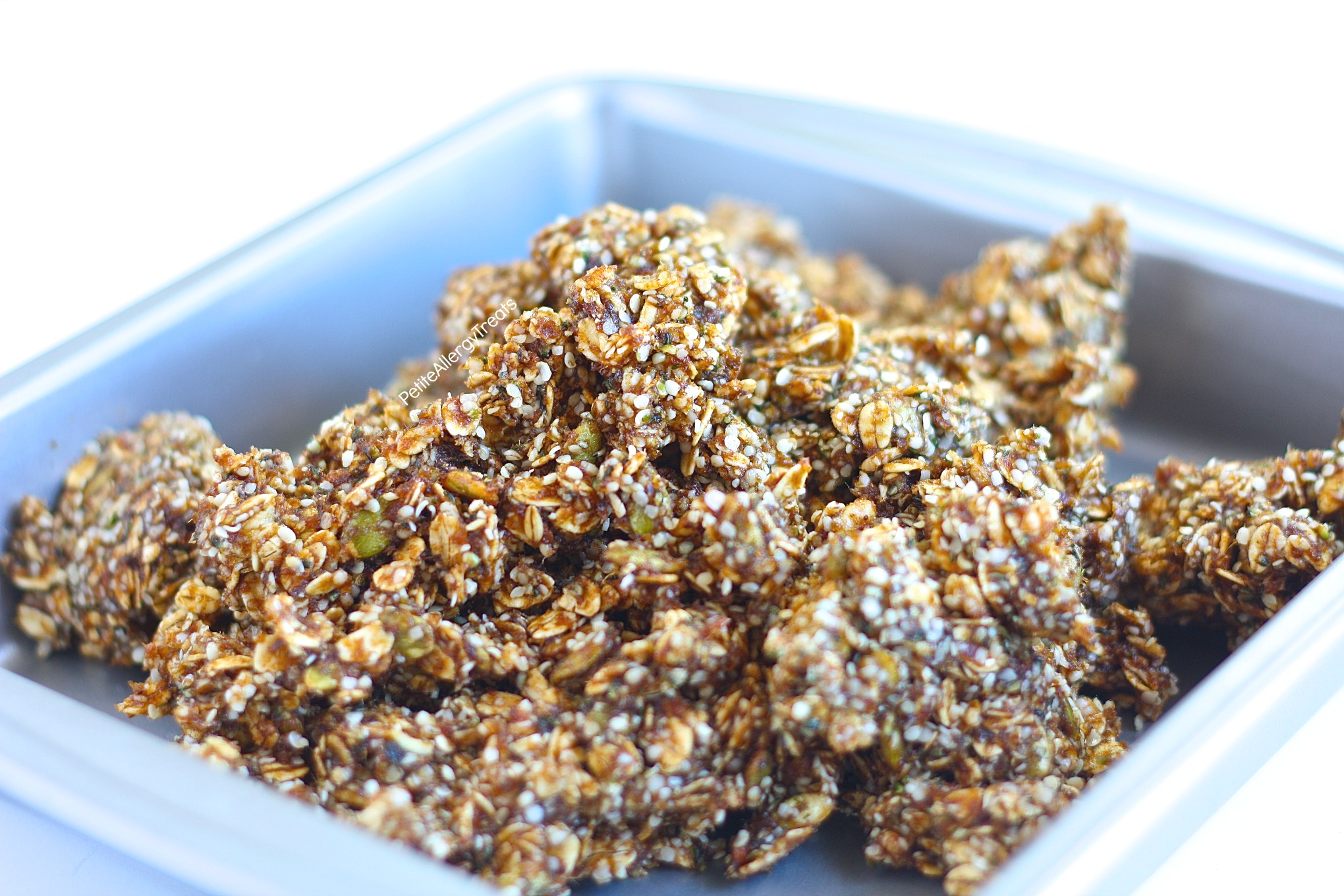 Gluten Free Gingersnap Granola Bars Recipe (nut free Vegan)- Healthier nut free protein packed gingersnap granola bars. Food Allergy Friendly.