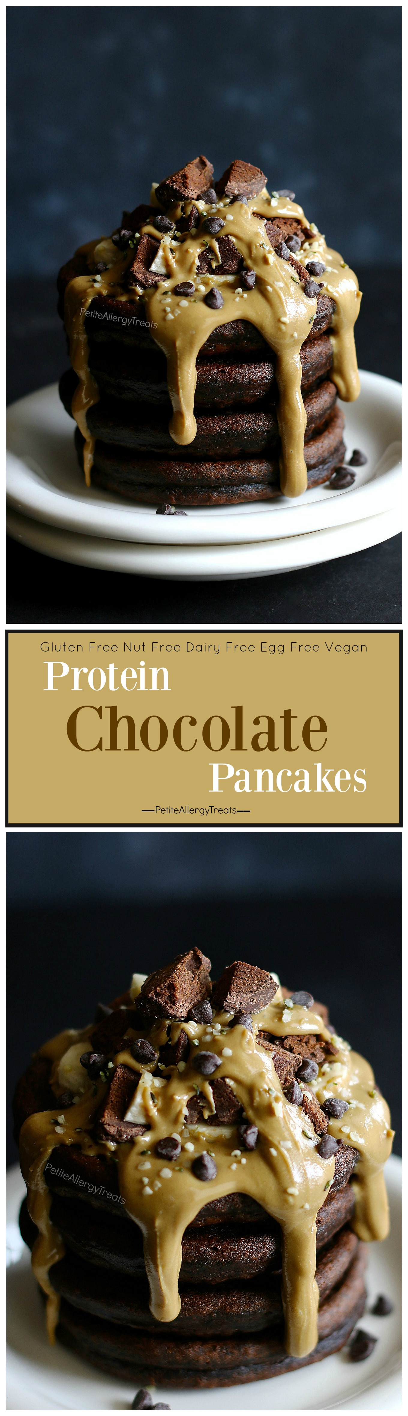 Gluten Free Chocolate Pancakes Recipe (dairy free gluten free)- Protein packed chocolate nut free egg free pancakes! Food Allergy Friendly.