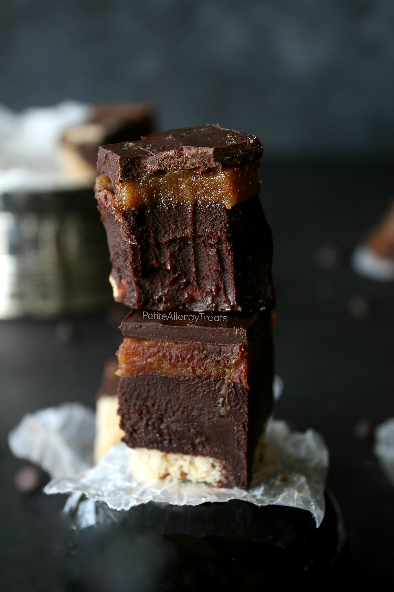 No bake Vegan Twix Fudge Bars Recipe (gluten free dairy free)- Healthier date caramel and oil free ganache fudge filling. Food Allergy friendly!