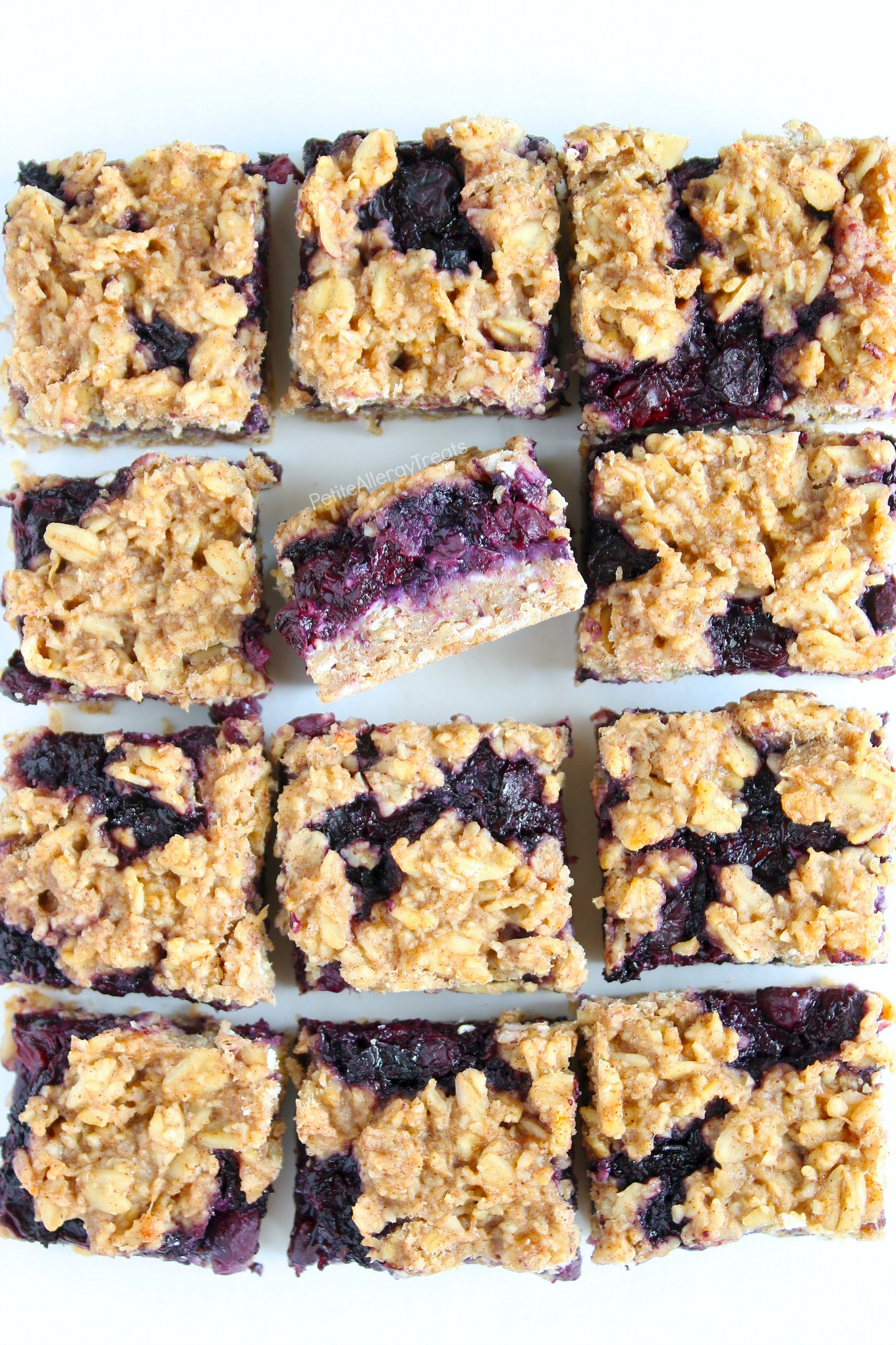 Easy Breakfast Blueberry Crumble Oat Bars Recipe (gluten free dairy free Vegan) Healthy refined sugar free flourless oat bars! Super easy dairy free quick breakfast. Food Allergy friendly.