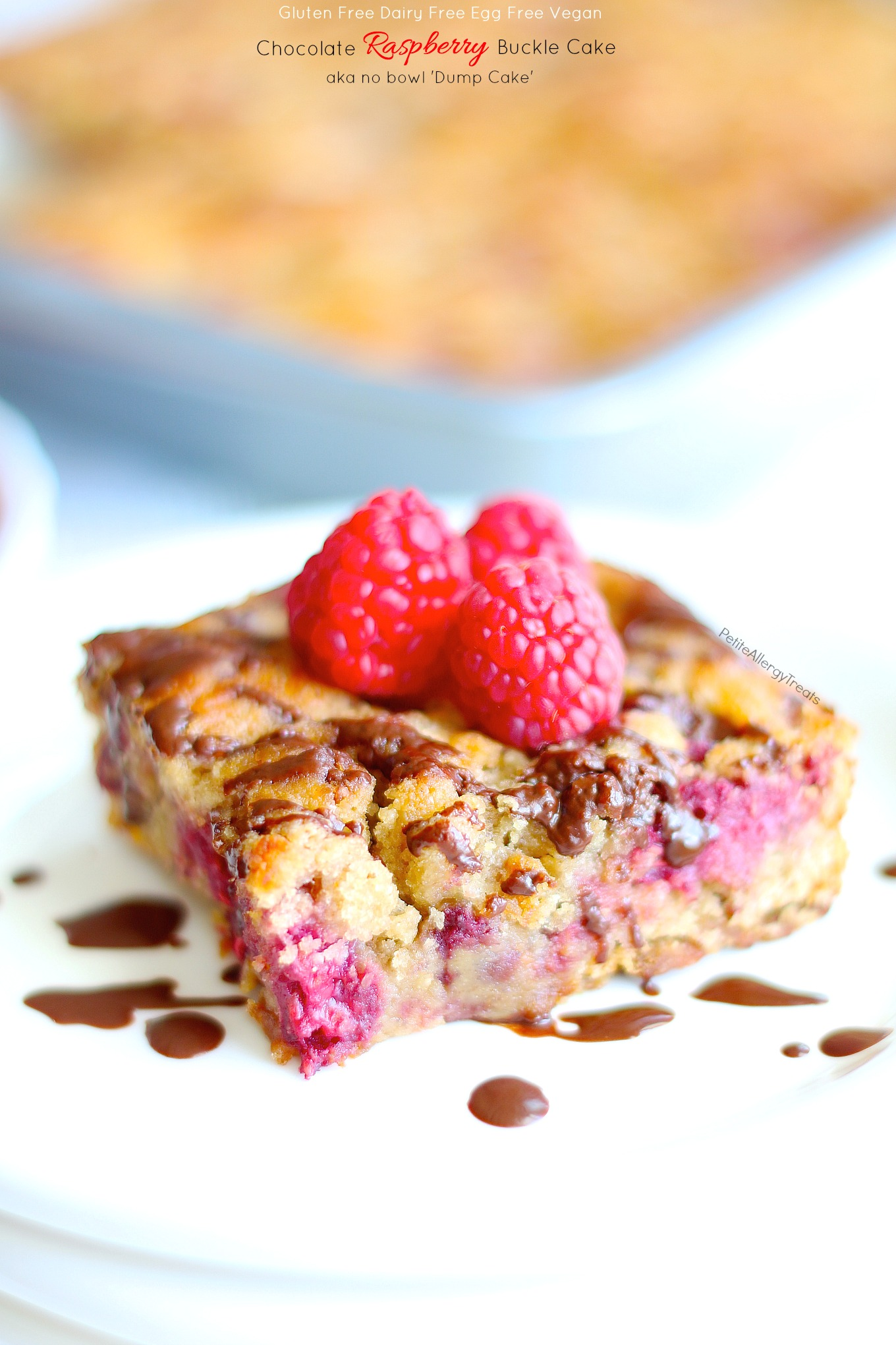 Gluten Free Raspberry Buckle Dump Cake (dairy free vegan) Recipe- Healthier no bowl breakfast cake containing real fruit, protein and food allergy friendly.