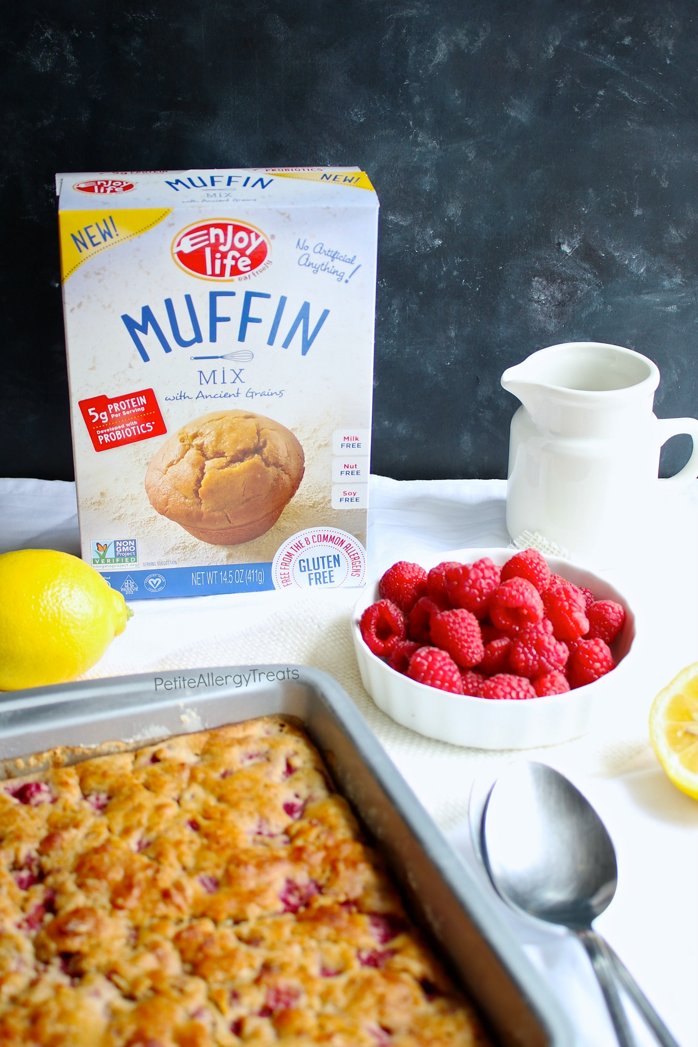 Gluten Free Raspberry Dump Cake (dairy free vegan) Recipe- Healthier no bowl required breakfast cake containing real fruit, protein and food allergy friendly.