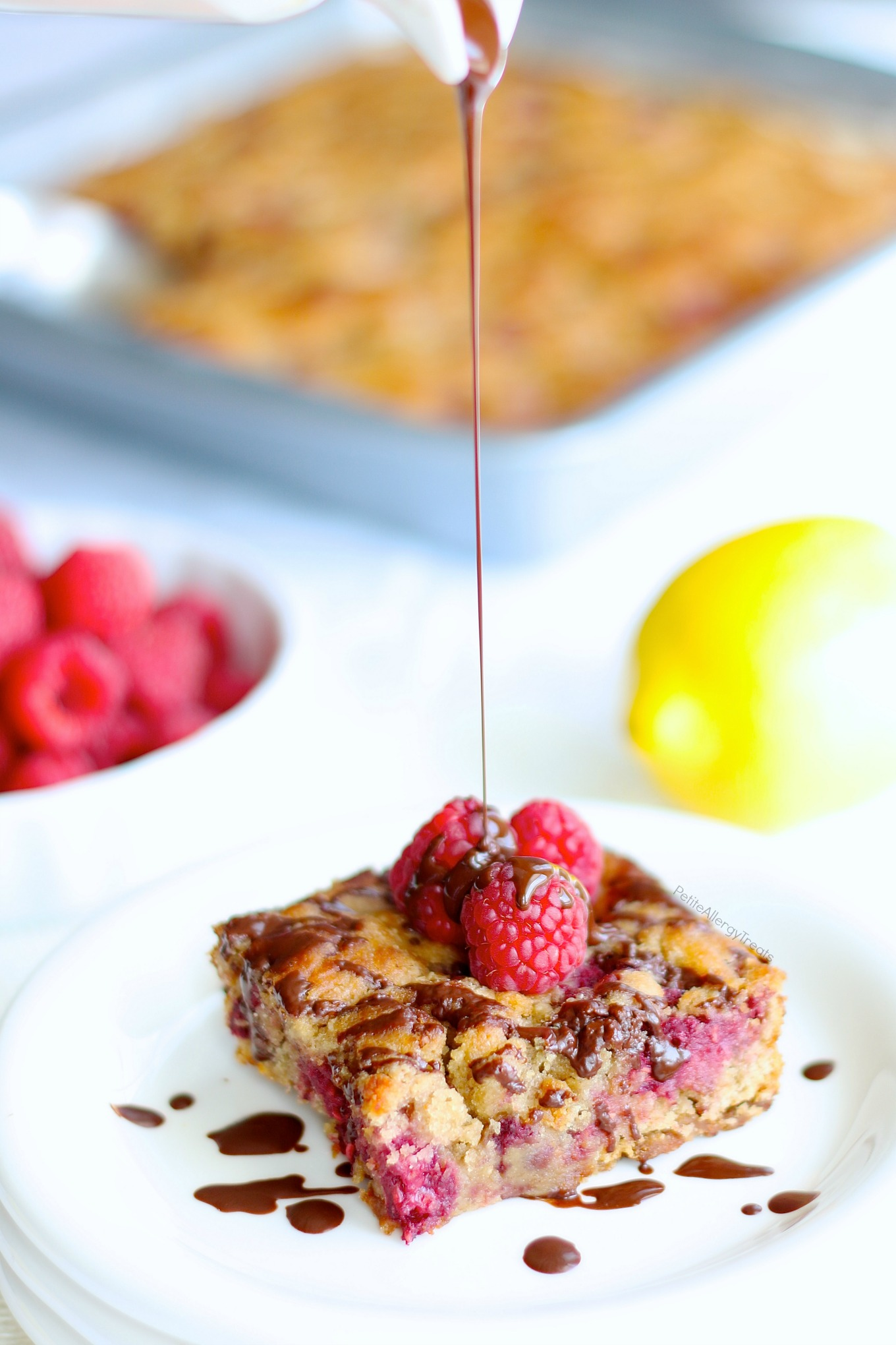Gluten Free Raspberry Breakfast Cake (dairy free vegan) Recipe- Healthier no bowl required dump cake containing real fruit, protein and food allergy friendly.