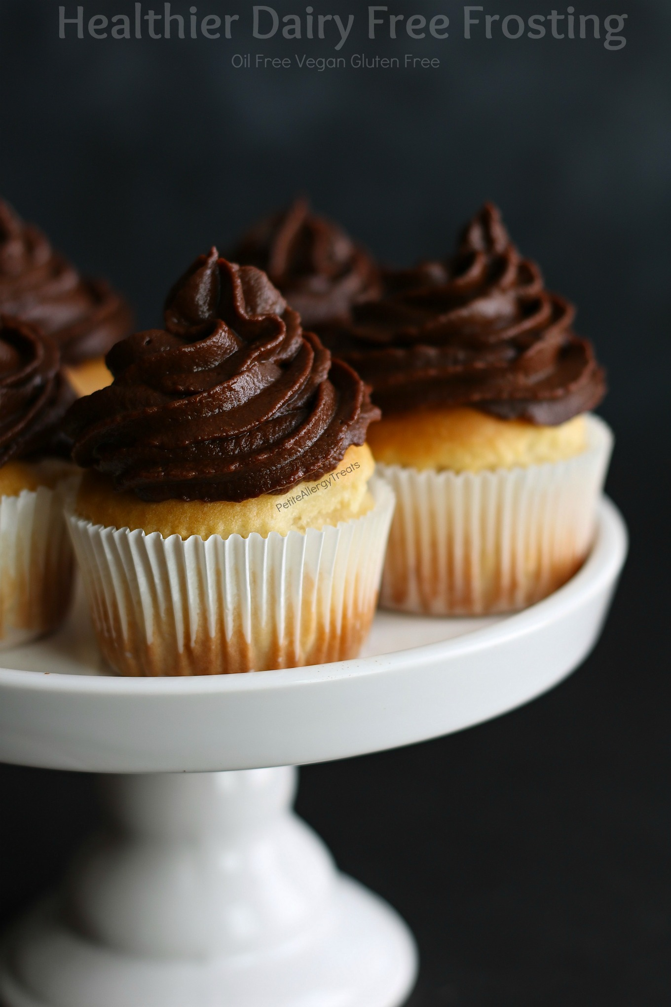 Healthy Dairy Free Frosting Recipe Vegan- Smooth oil free chocolate frosting. Easy no mixer needed food allergy friendly recipe