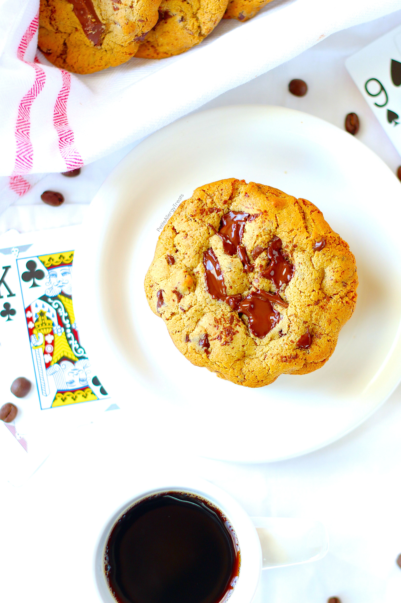 Vegan Chocolate Chip Cookies Recipe- Gooey egg free vegan espresso chocolate chip cookies! Dairy Free sweet cookies!