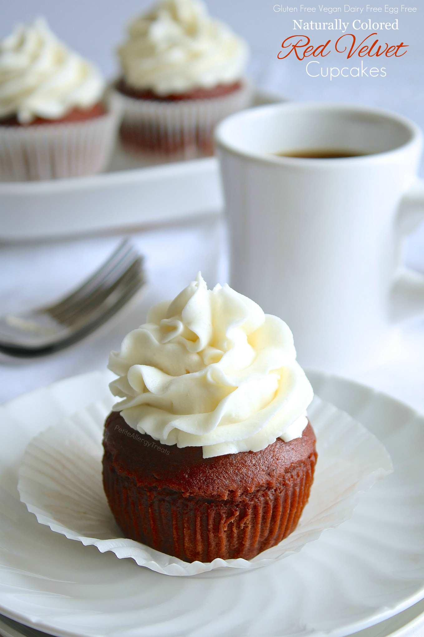 Gluten Free Vegan Red Velvet Cupcakes Recipe- Naturally colored dye-free red velvet cupcakes made dairy free, egg free and Vegan. Food Allergy friendly!