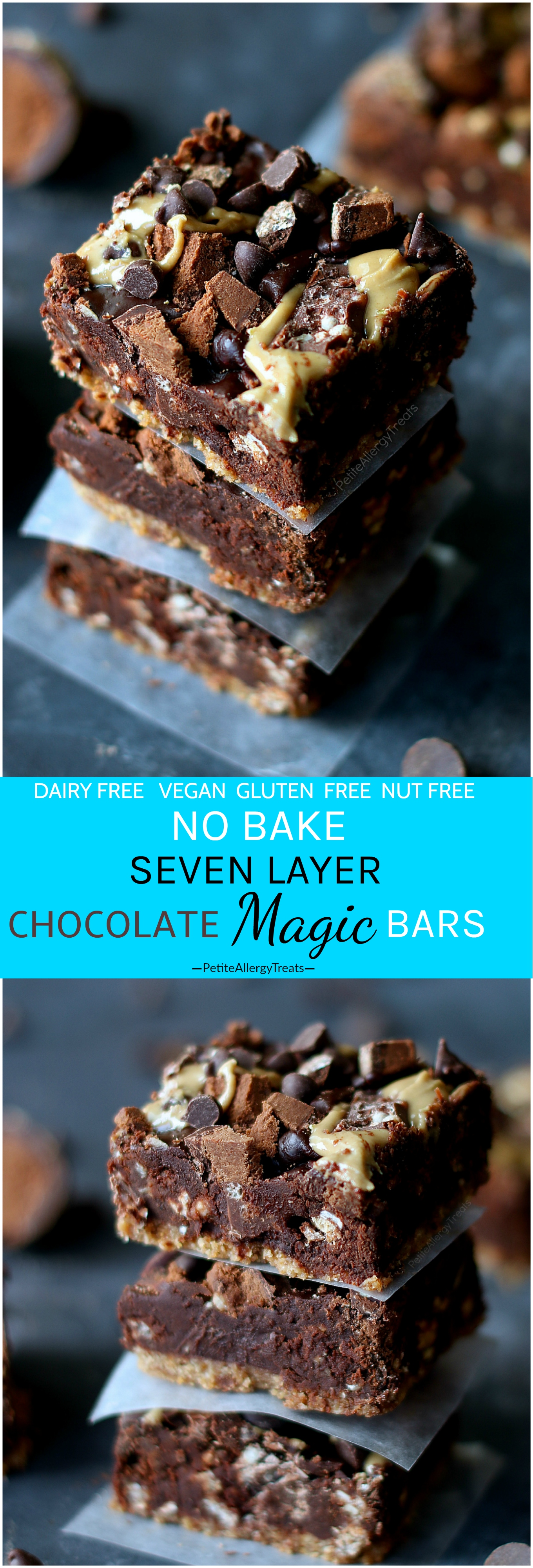 No Bake Vegan Magic Bars Recipe ( Dairy Free Gluten Free)- No bake chocolate seven layer magic bars ready in 15 mins! No coconut and food allergy friendly!