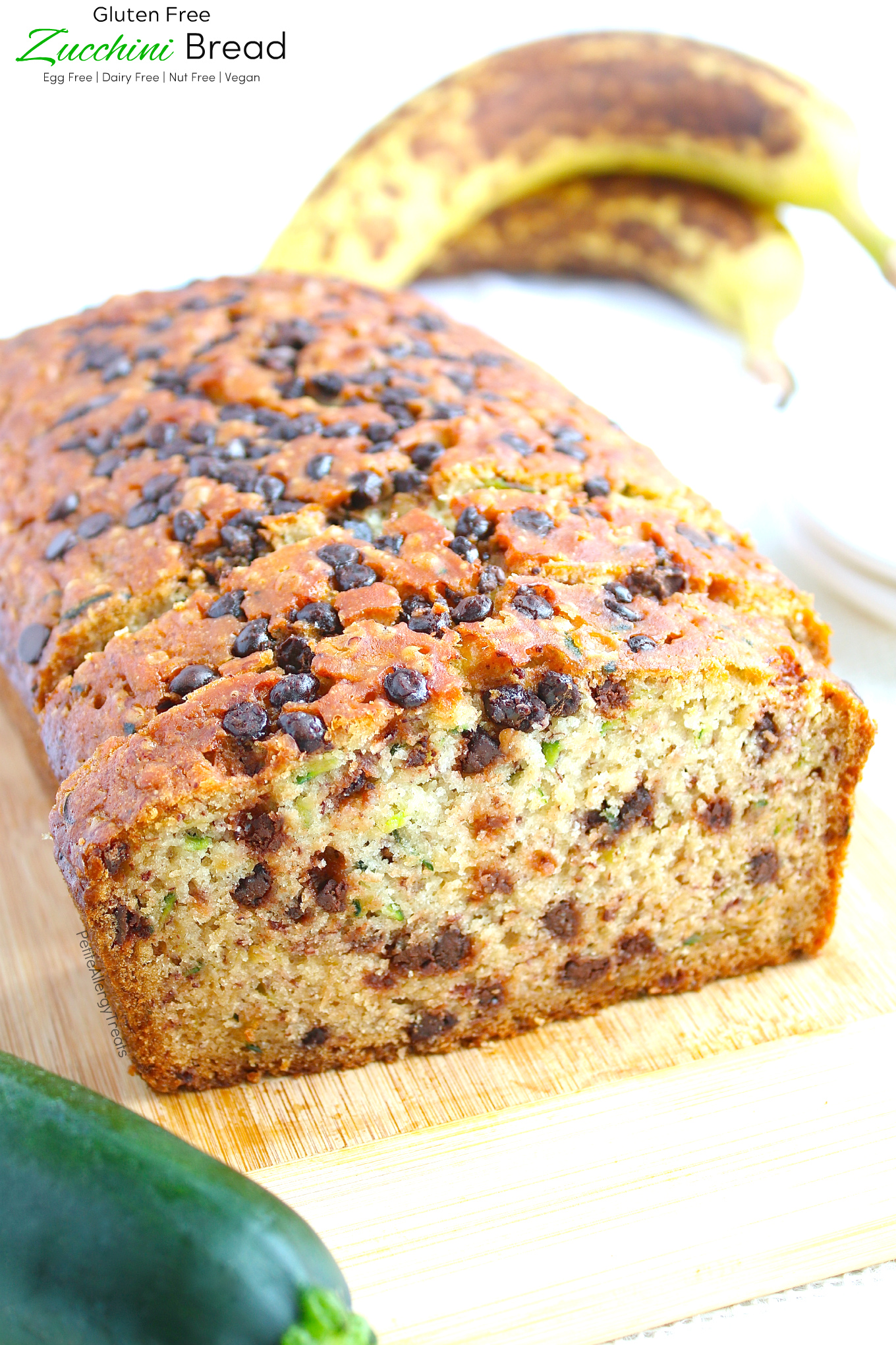 Easy egg free Gluten Free Zucchini Bread Recipe (dairy free Vegan)- One bowl gluten free chocolate chip zucchini bread. #glutenfree, #dairyfree, #eggfree, #vegan