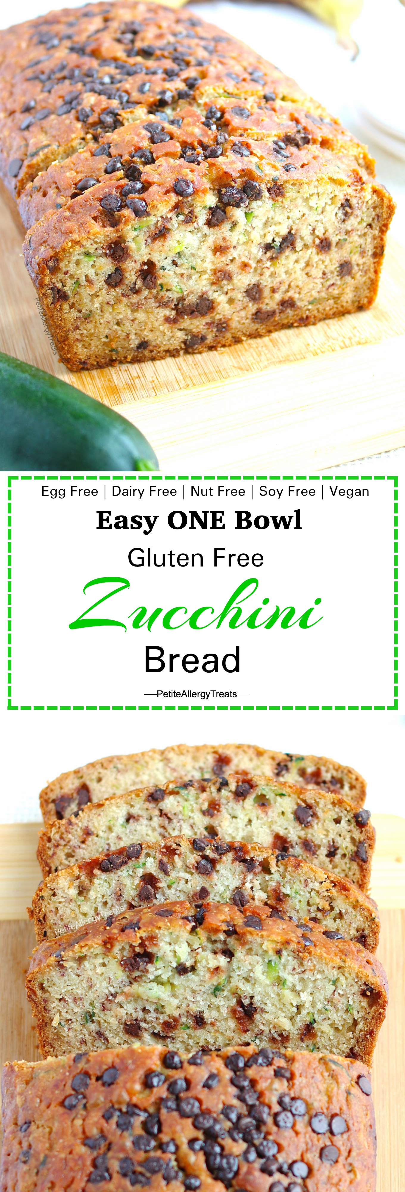 Egg Free Gluten Free Zucchini Bread Recipe (egg free dairy free Vegan)- Easy one bowl gluten free chocolate chip zucchini bread. #glutenfree, #dairyfree, #eggfree, #vegan, #foodallergies