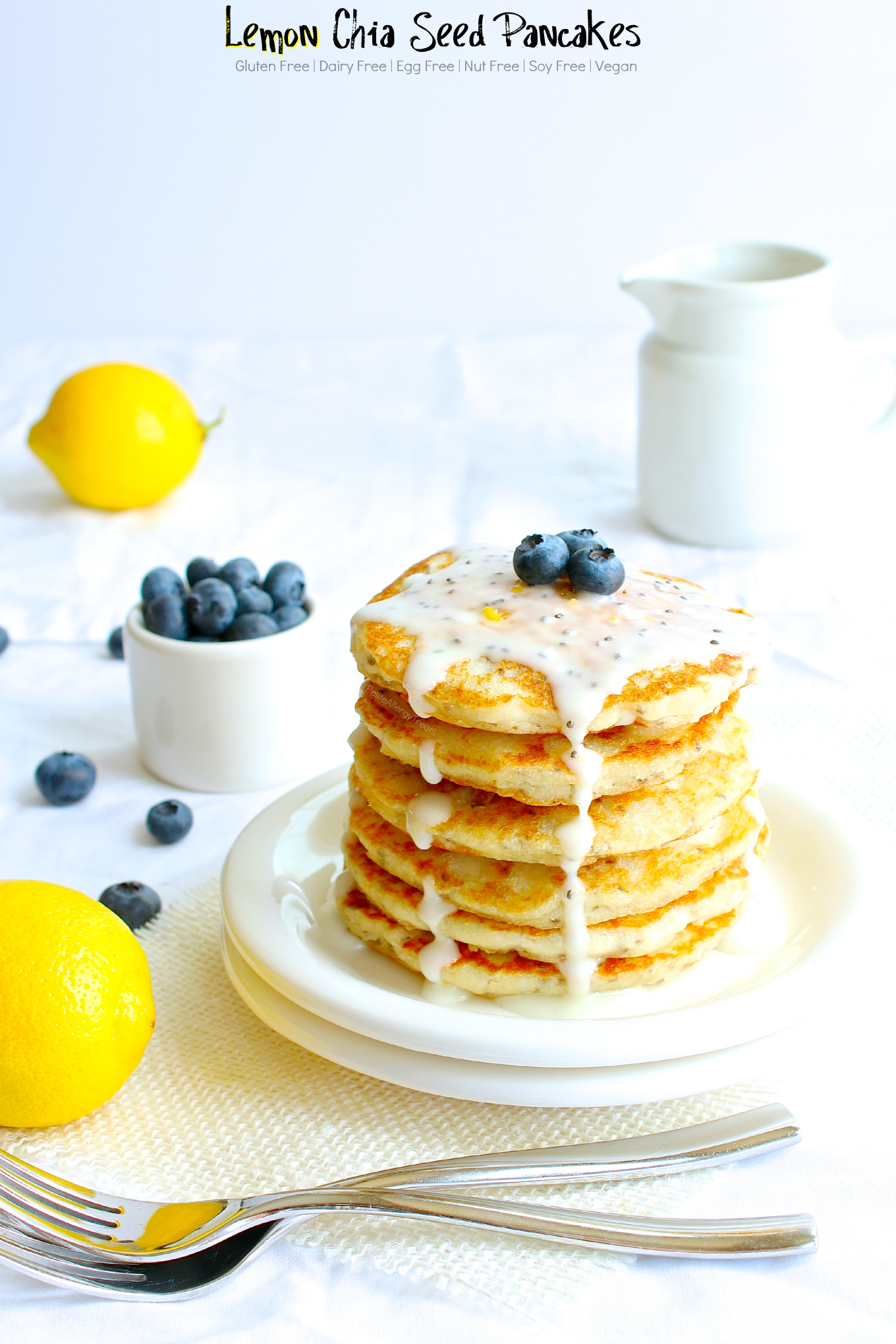 Gluten Free Lemon Chia Seed Pancakes (dairy free Vegan) recipe- Easy gluten free pancakes, like lemon poppy seed pancakes but better. Super food allergy friendly too-egg free, dairy free and nut free. #glutenfree #dairyfree #eggfree