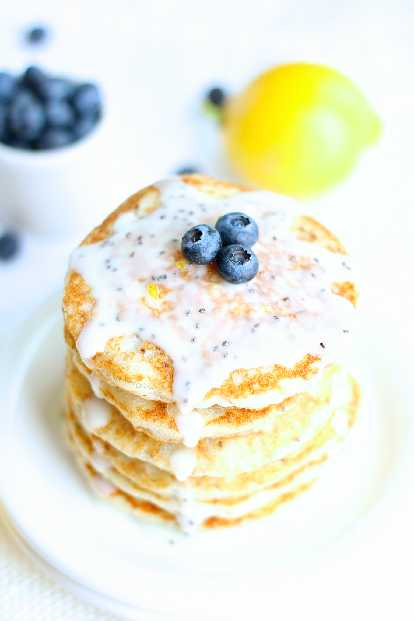 Lemon Chia Seed Pancakes (gluten free dairy free Vegan) recipe- Easy gluten free pancakes, like lemon poppy seed pancakes but better. Super food allergy friendly too-egg free, dairy free and nut free. #glutenfree #dairyfree #eggfree