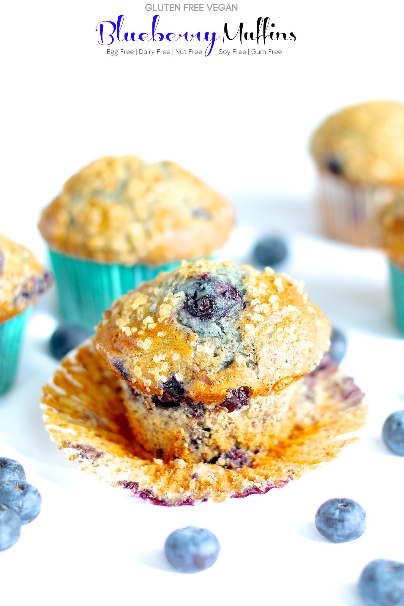 Gluten Free Vegan Blueberry Muffins (dairy free egg free) Recipe- Delicious HUGE Bakery style gluten free blueberry muffins! Super #FoodAllergy friendly- #dairyfree, #eggfree, #nutfree #soyfree