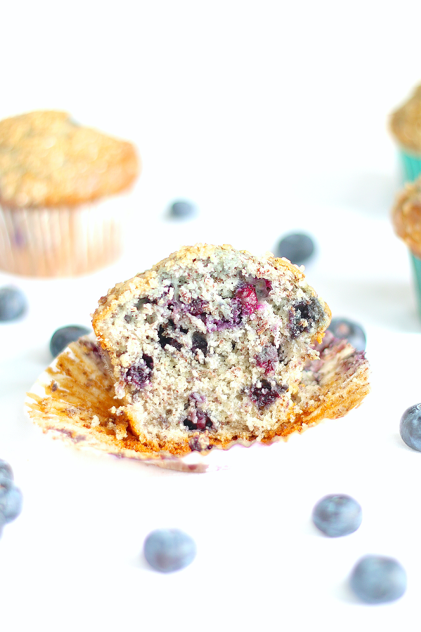 Vegan Blueberry Muffins (gluten free dairy free egg free) Recipe- Delicious HUGE Bakery style gluten free blueberry muffins! Super #FoodAllergy friendly- #dairyfree, #eggfree, #nutfree #soyfree